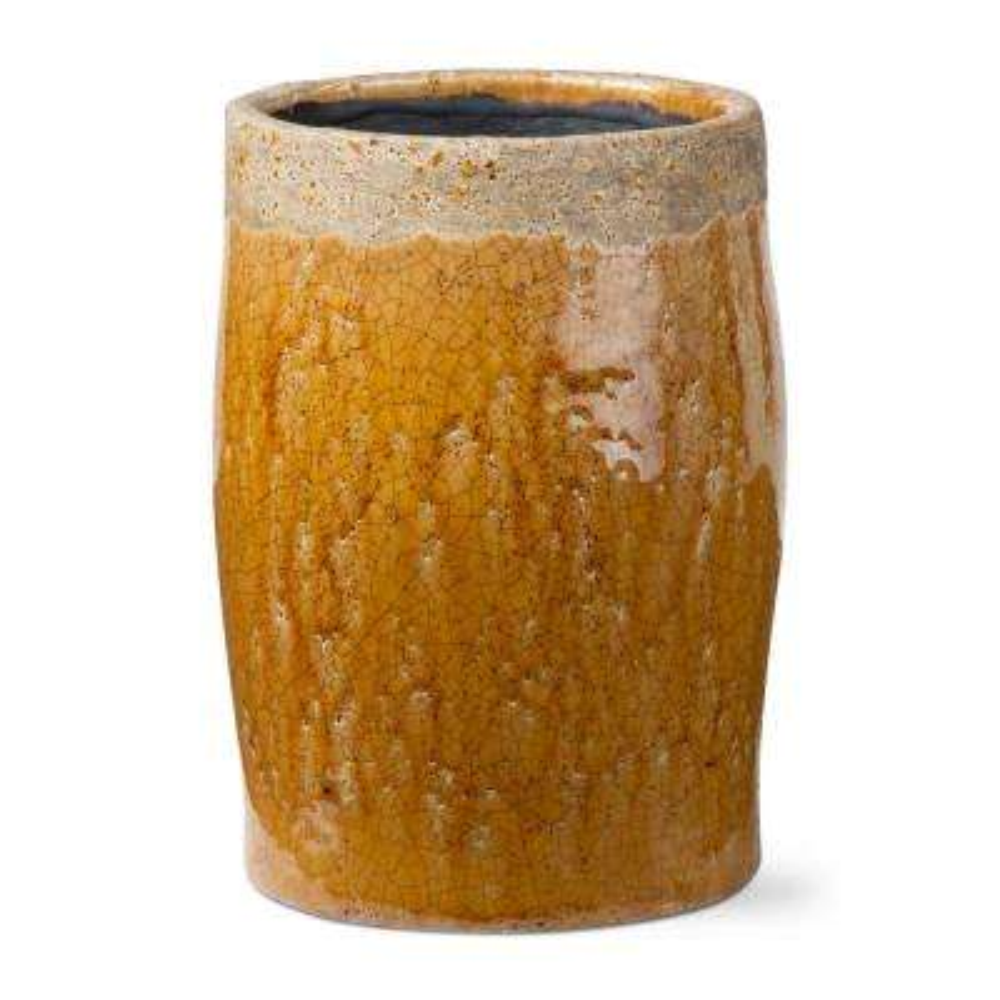 Crackle Glazed Rustic Amber Terra Cotta Vase