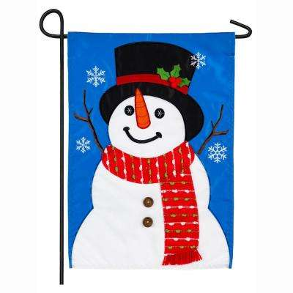 18 in. x 12.5 in. Happy Snowman Garden Applique Flag