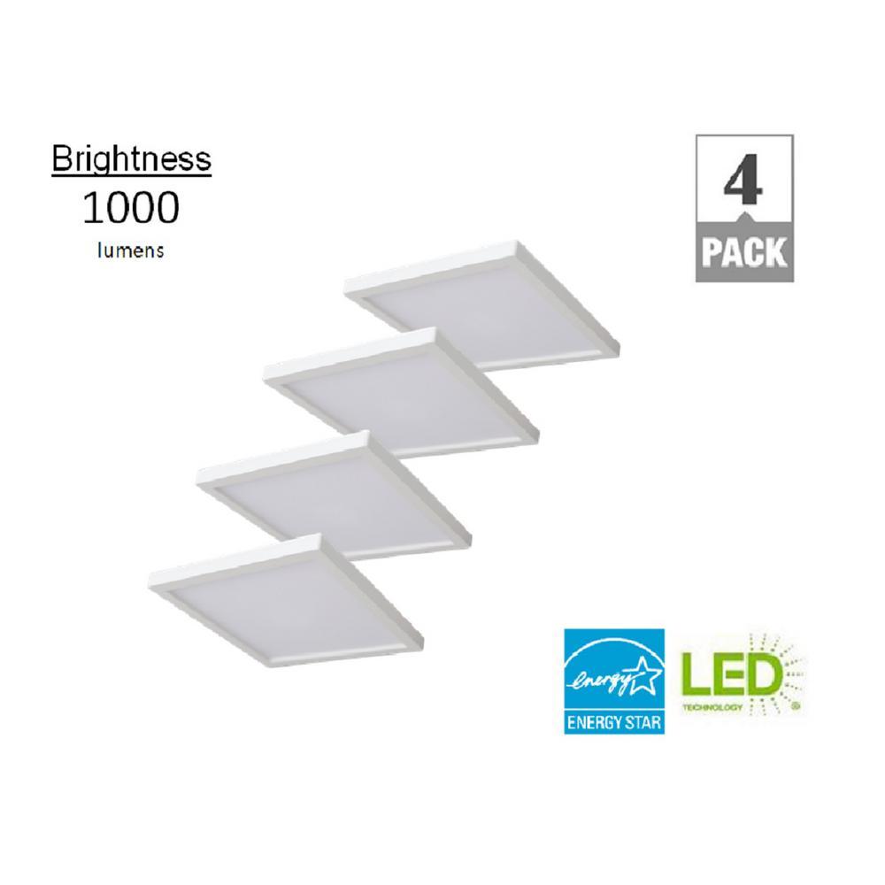 7 in. Square White LED Flush Mount (4-Pack)