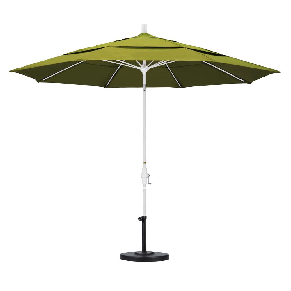 11 ft. Fiberglass Collar Tilt Double Vented Patio Umbrella in Kiwi