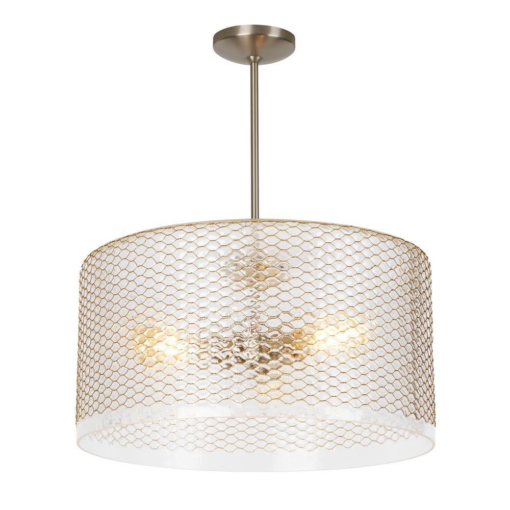 Lania 3-Light Clear-Brass Pendant
