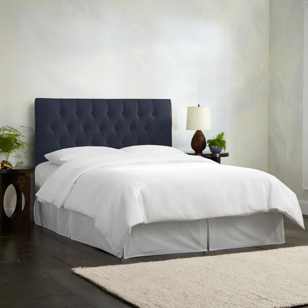 linen navy full diamond tufted headboard 541flnnnv the. Black Bedroom Furniture Sets. Home Design Ideas