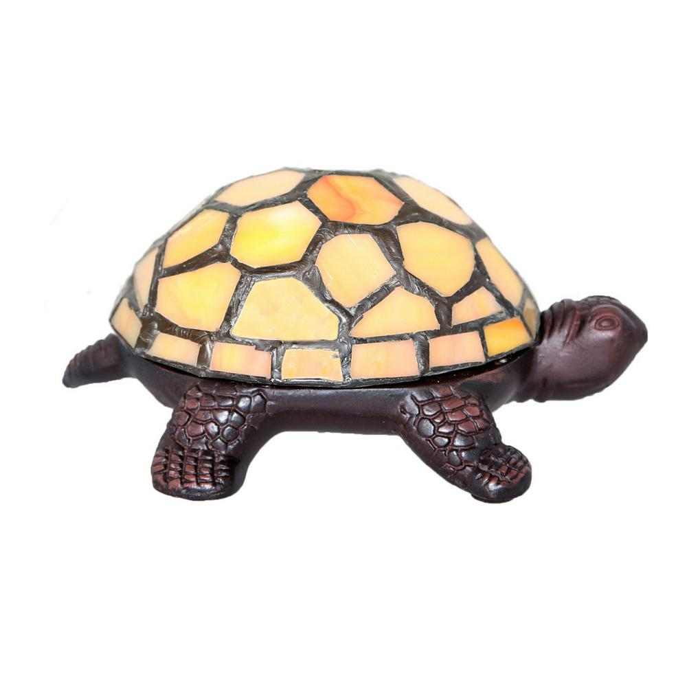 Yellow Stained Gl Turtle Accent Lamp