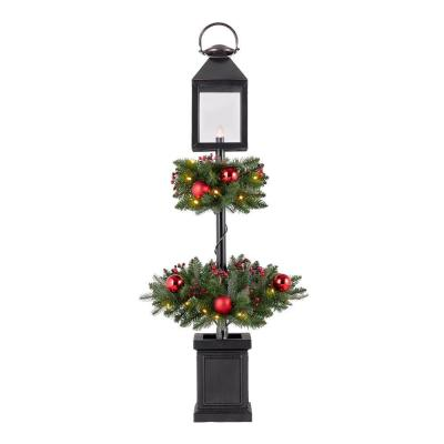 4 ft Spruce Potted LED Pre-Lit Tree with Lantern