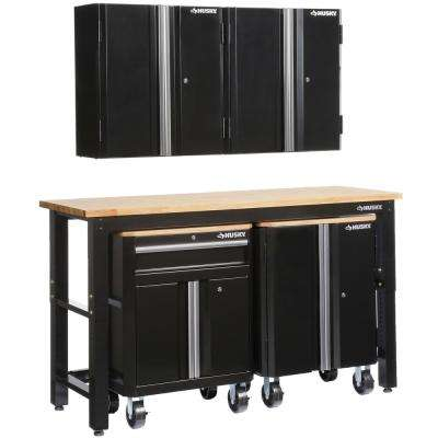 72 in. W x 98 in. H x 24 in. D Steel Garage Cabinet Set in Black (5-Piece)