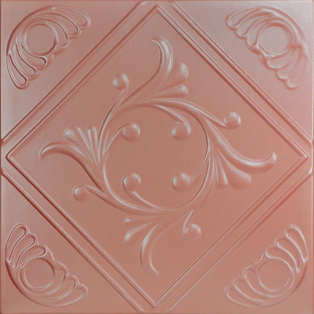 Diamond Wreath 1.6 ft. x 1.6 ft. Foam Glue-up Ceiling Tile in Tea Room