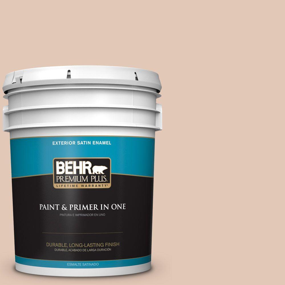 BEHR Premium Plus 5-gal. #290E-2 Oat Cake Satin Enamel Exterior Paint
