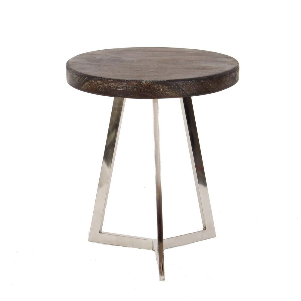 Marvelous Modern Stainless Steel And Albizia Wood Round Accent Table 37817   The Home  Depot