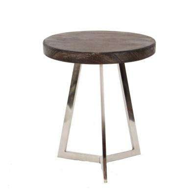 Modern Stainless Steel And Albizia Wood Round Accent Table