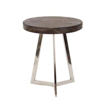 Litton Lane 20 in. x 18 in. Modern Stainless Steel and Albizia Wood Round Accent Table, Black