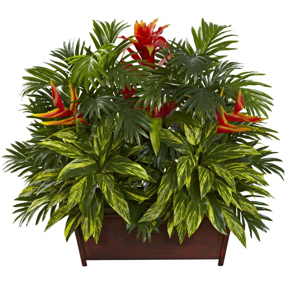 Tropical Garden with Wood Planter