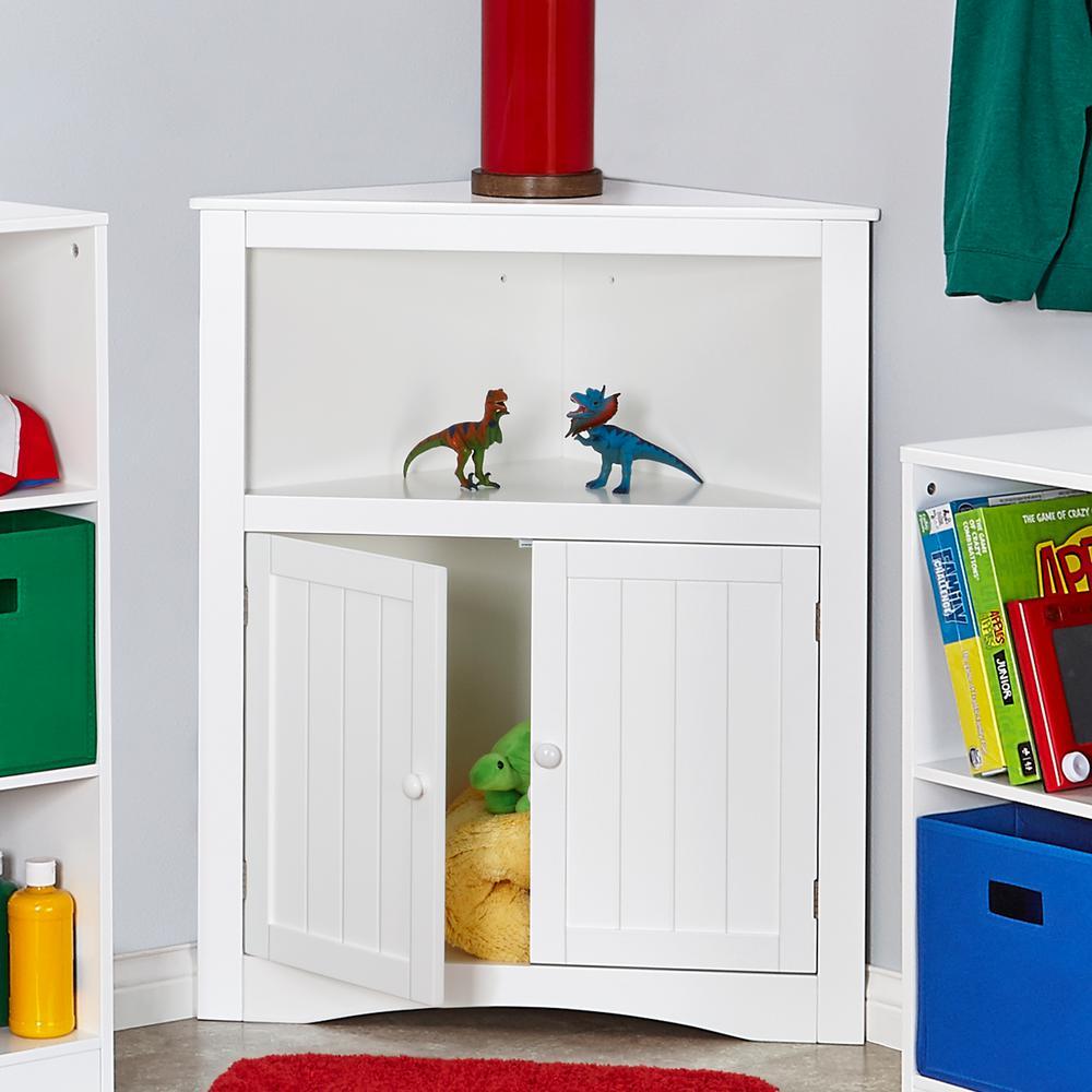 RiverRidge Kids Two Door Corner Cabinet In White
