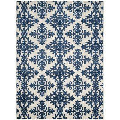 Cottage Cream/Royal 9 ft. x 12 ft. Indoor/Outdoor Area Rug