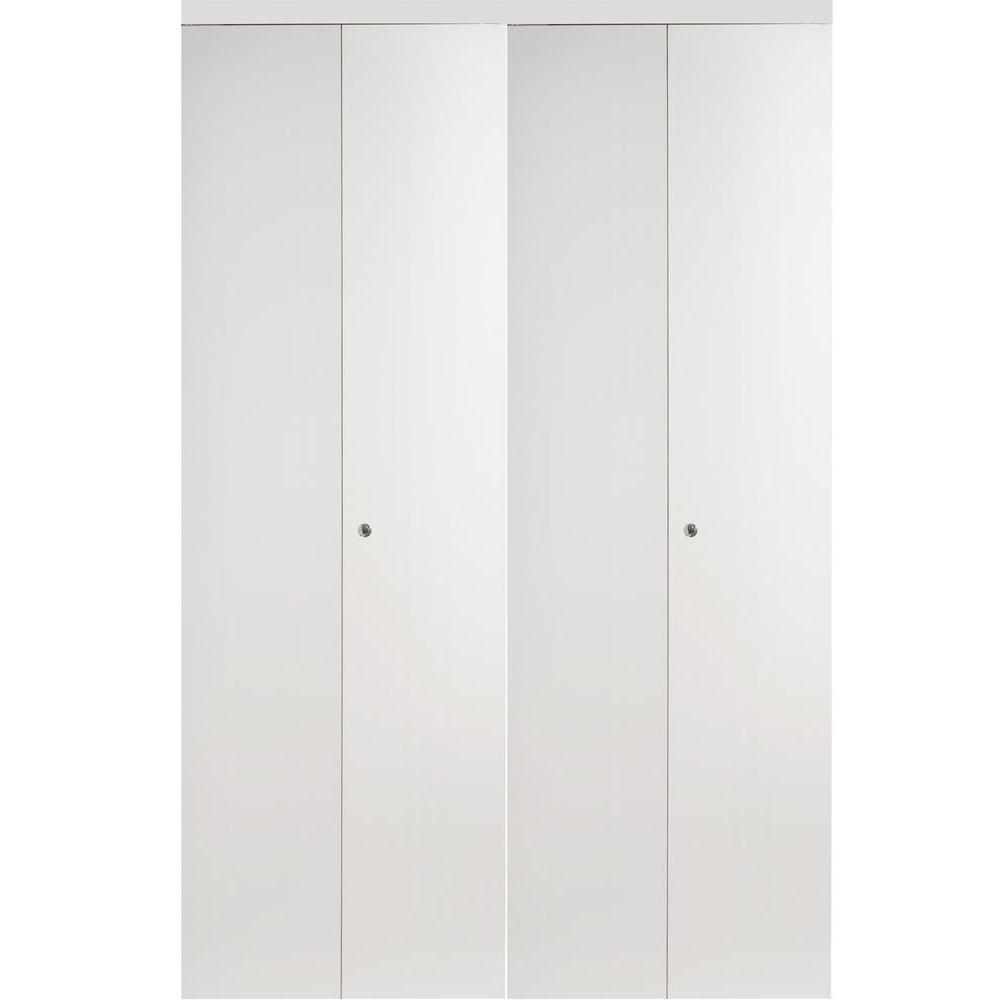 Impact Plus 4-Panel Smooth Flush Solid Core Primed MDF Interior Closet Bi-fold Door With White Trim
