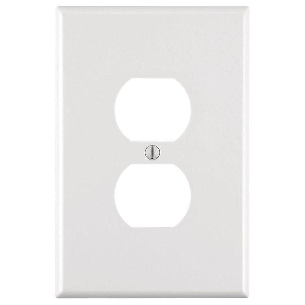 1-Gang Jumbo Duplex Outlet Wall Plate, White
