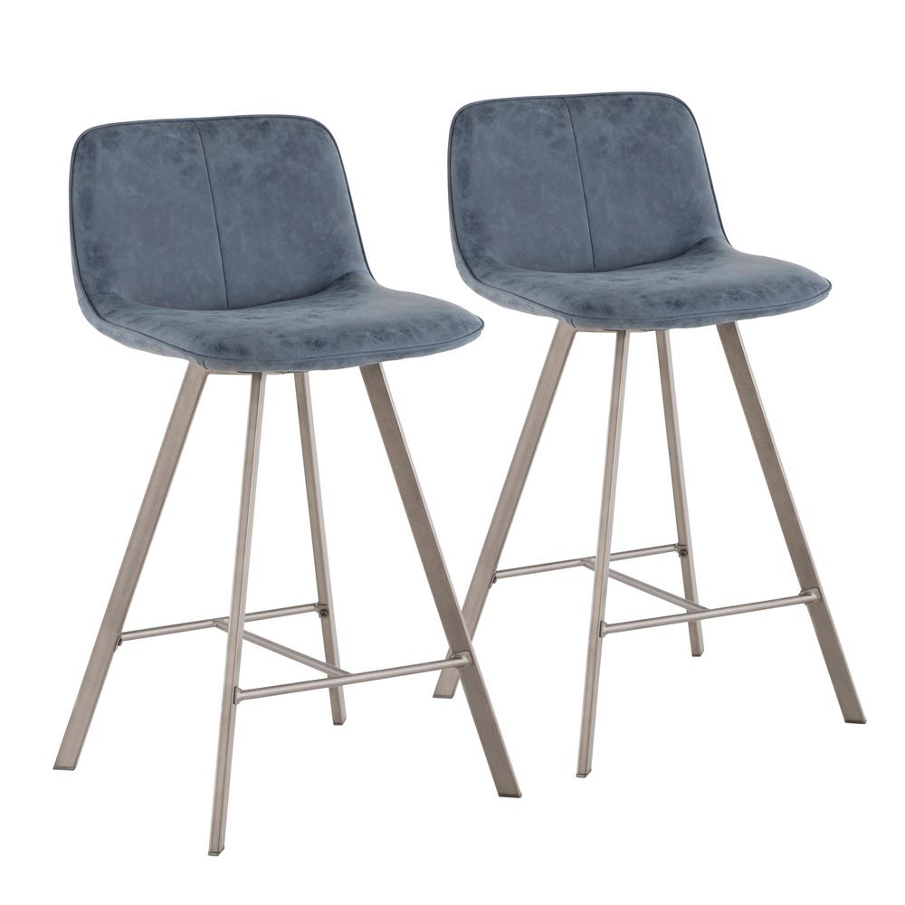 Blue fabric and antique metal counter stool set of 2