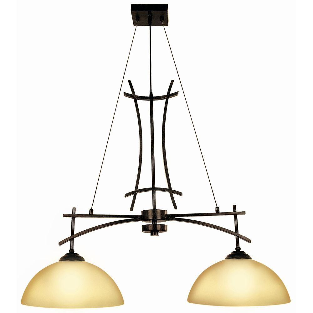 Yosemite Home Decor Sentinel Collection 2-Light Venetian Bronze Island Light with Amber Scavo Glass Shade