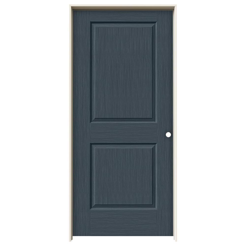 36 in. x 80 in. Cambridge Denim Stain Left-Hand Solid Core Molded Composite MDF Single Prehung Interior Door