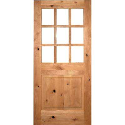 36 in. x 80 in. Craftsman 9-Lite Clear Beveled Glass Knotty Alder Unfinished Wood Front Door Slab