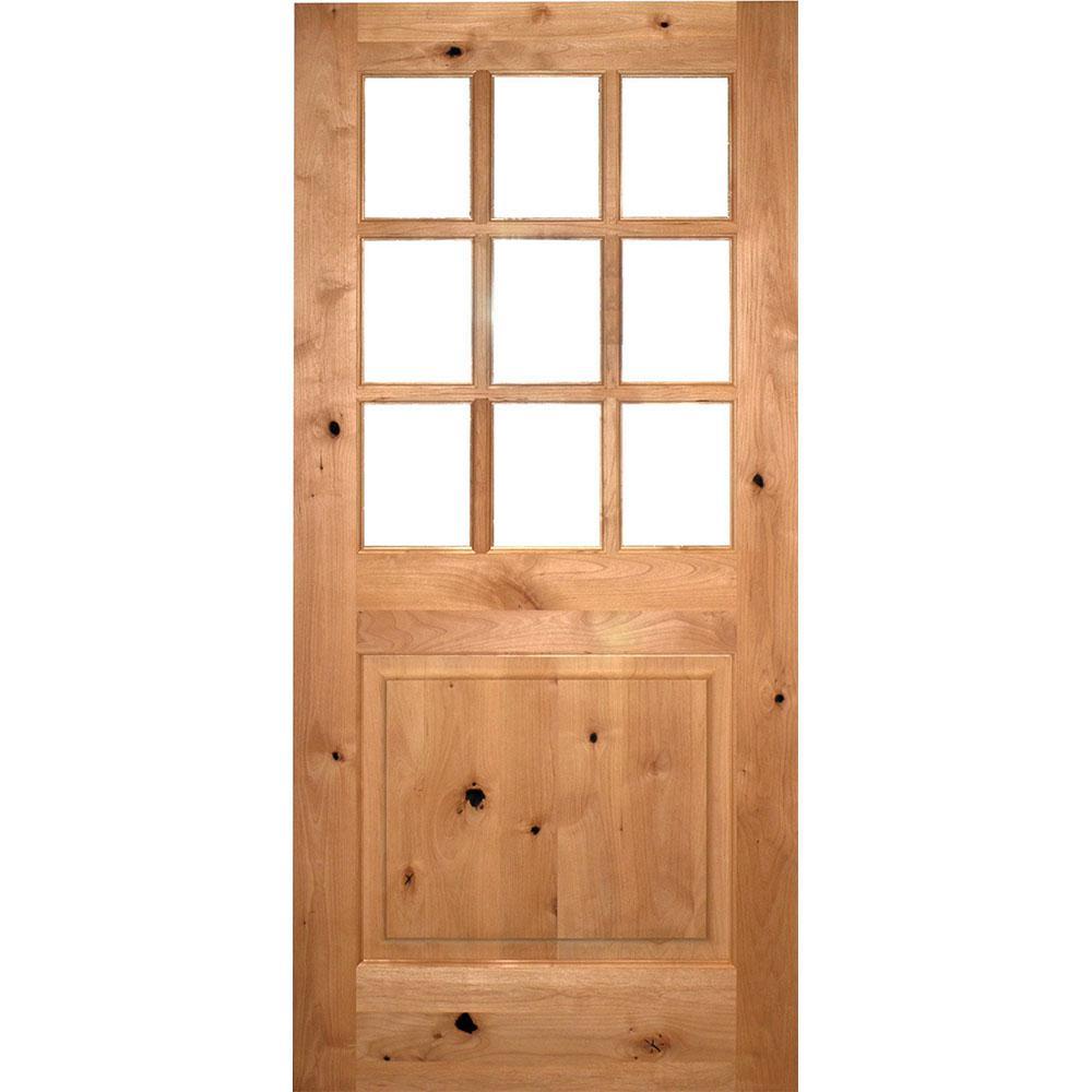 36 in. x 80 in. Craftsman 9-Lite Clear Beveled Glass Knotty Alder Unfinished Wood Front Door Slab