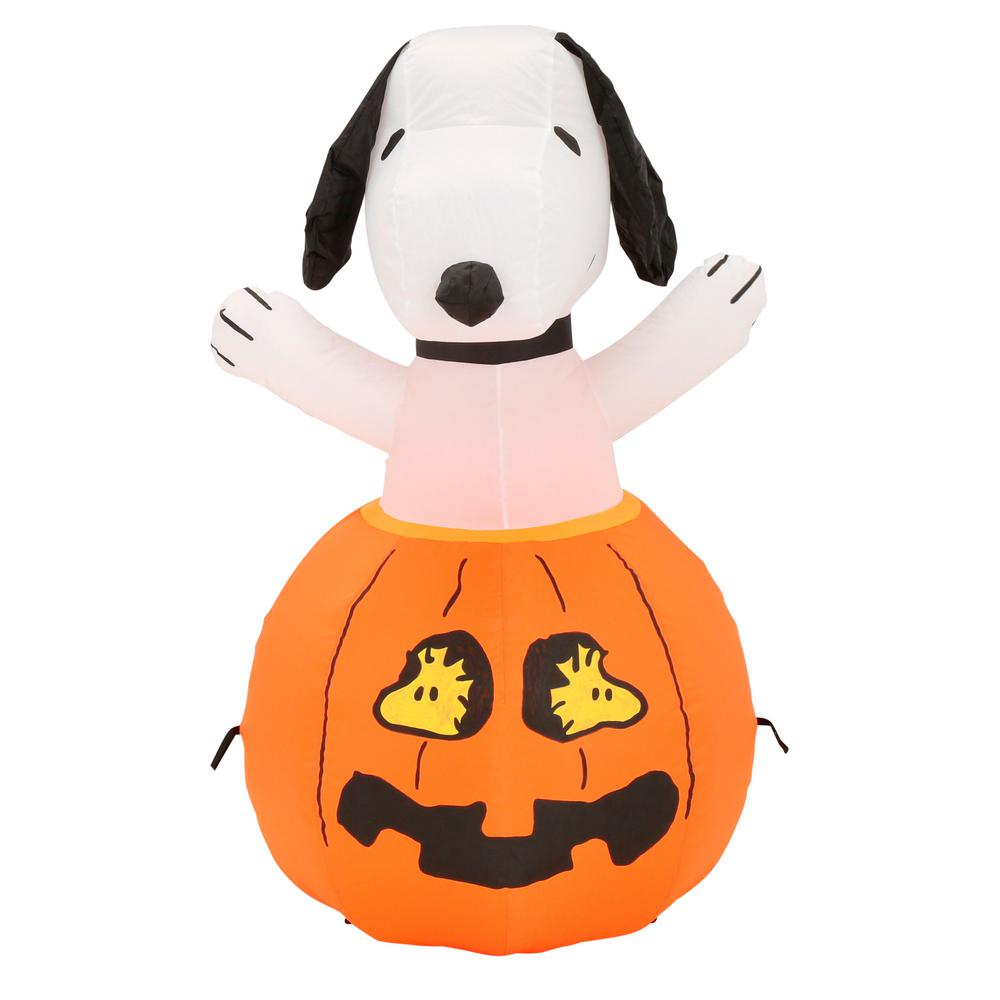 Gemmy 36 In Inflatable Snoopy In Pumpkin With Woodstock 64371 The