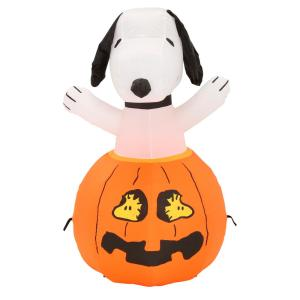 HomeDepot.com deals on Gemmy 36 in. Inflatable Snoopy in Pumpkin with Woodstock