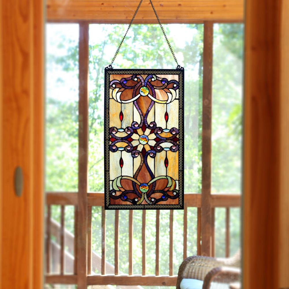 stained glass window panels River of Goods Amber Stained Glass Brandi's Window Panel 13270  stained glass window panels