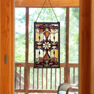 Amber Stained Glass Brandis Window Panel