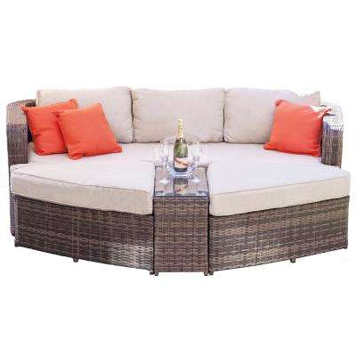 Marrakesh Brown 4-Piece Wicker Outdoor Daybed Set with Beige Cushions