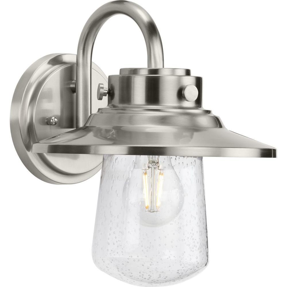 Progress Lighting Tremont 1-Light Stainless Steel Clear Seeded Glass Industrial Outdoor Medium Wall Lantern Light