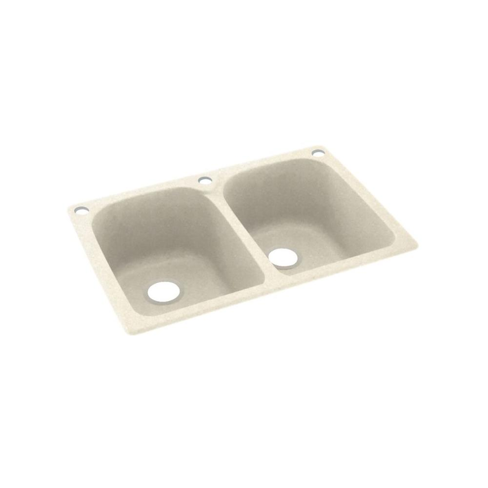 Dual Mount Solid Surface 33 In X 22 3 Hole 50 Double Bowl Kitchen Sink Pebble