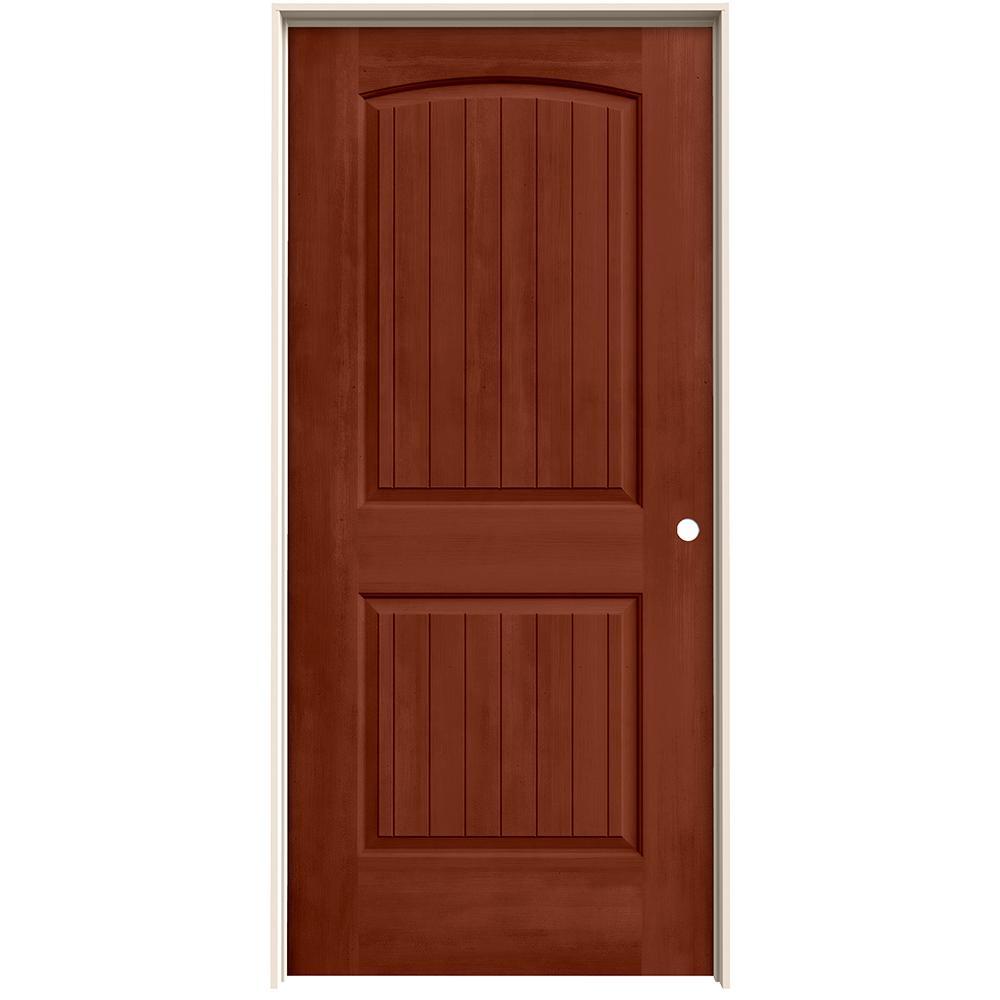 Jeld wen 36 in x 80 in santa fe amaretto stain left hand for 14 x 80 interior door