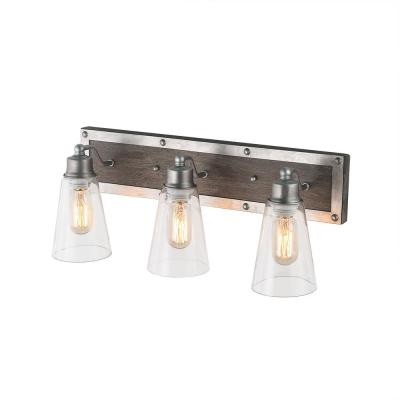 3-Light Silver Wood Vanity Light with Clear Glass Shade