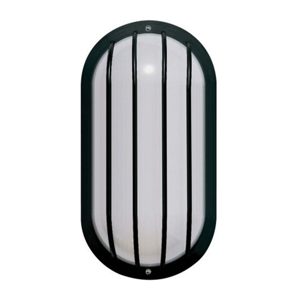1-Light Black Outdoor Lantern with White Acrylic Lens