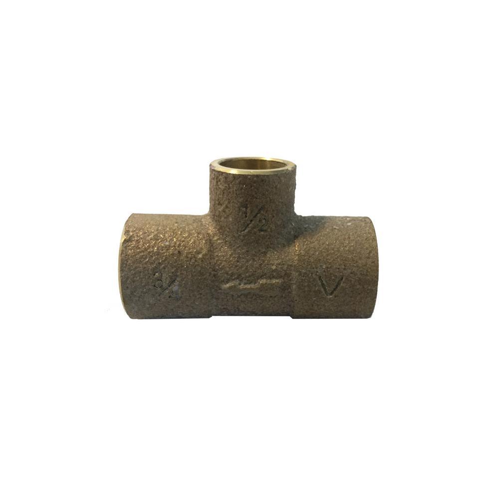 3/4 in. x 1/2 in. Cast Brass Sweat Copper Monoflo Scoop Tee