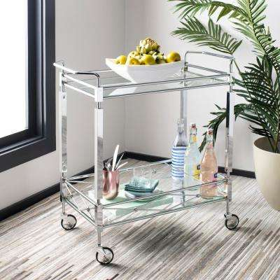 Ingrid 2-Tier Chrome Bar Cart