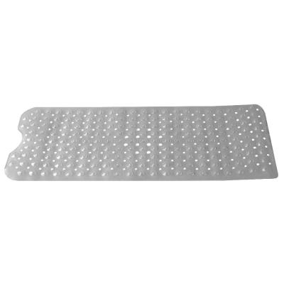 Extra Long Contour U Shape 16.1 in x 39 in Front Clear Plastic Bath Mat with Anti-Skid Backing