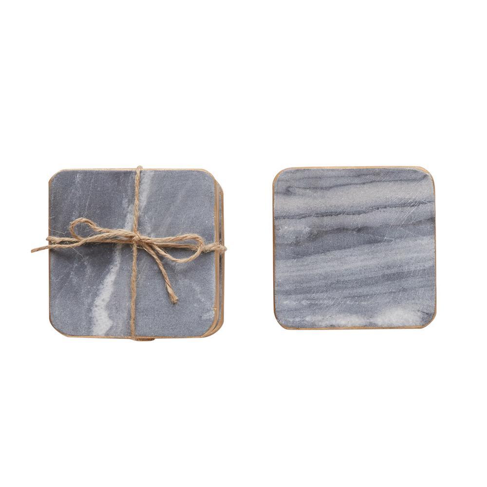3R Studios 4 inch Gray Marble Coasters by 3R Studios