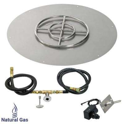 36 in. Round Stainless Steel Flat Pan with Spark Ignition Kit - Natural Gas (18 in. Ring Burner Included)