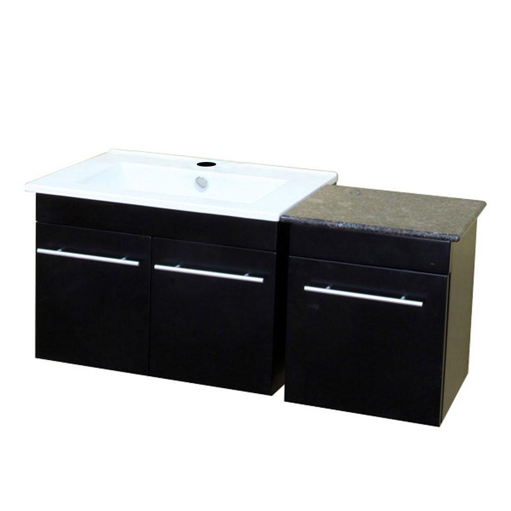 Bellflower 39.4 in. W x 18.5 in. D Single Vanity in Black with Ceramic Vanity Top in White with White Basin
