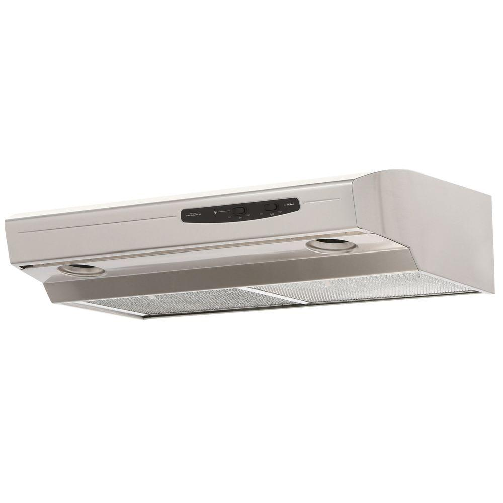 NuTone NuTone Allure I Series 30 in. Convertible Under Cabinet Range Hood with Light in Stainless Steel, Silver