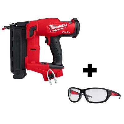 Milwaukee M18 FUEL 18-Volt 18-Gauge Lithium-Ion Brushless Cordless Gen II Brad Nailer w/ Performance Safety Clear Glasses