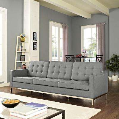 Loft Light Gray Upholstered Fabric Sofa