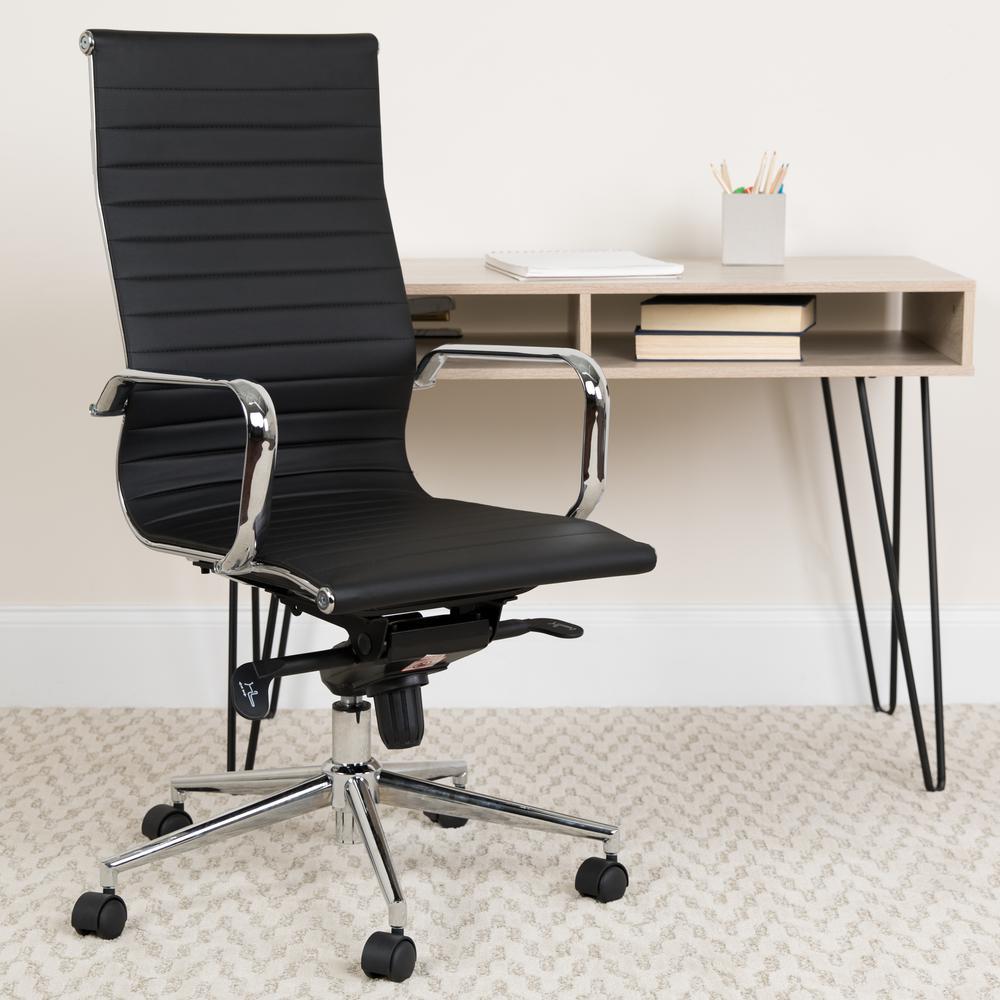 Carnegy Avenue Carnegy Avenue Black Leather/Chrome Frame Metal Office/Desk Chair