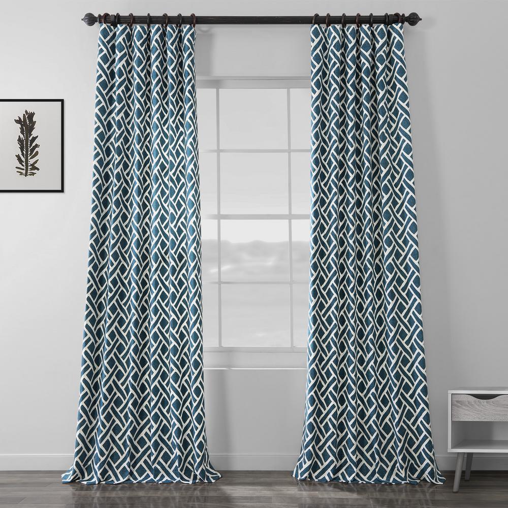 Martinique Blue Room Darkening Printed Cotton Curtain - 50 in. W x 120 in. L