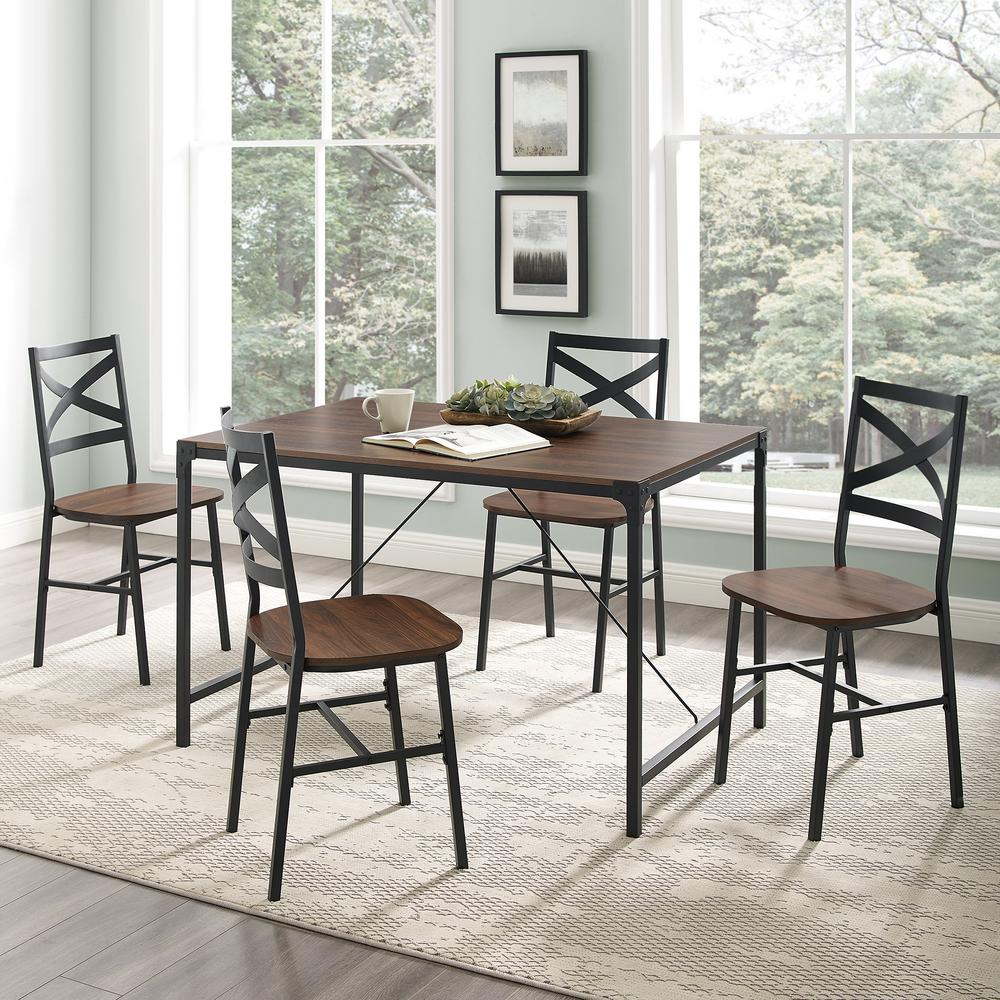 5-Piece Dark Walnut Angle Iron Dining Set with X-Back Chairs