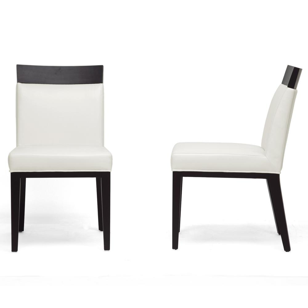 Baxton studio clymene cream faux leather upholstered for Cream upholstered dining chairs