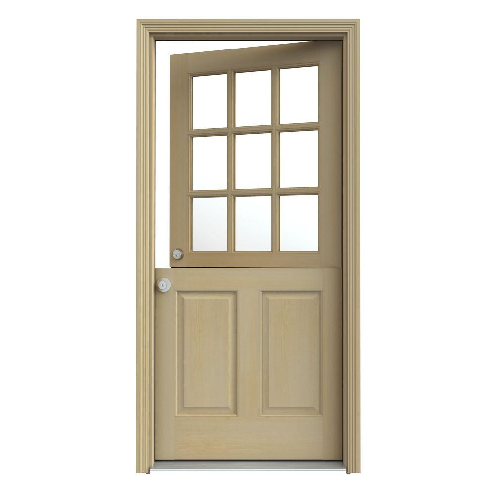 JELD-WEN 36 in. x 80 in. 9 Lite Unfinished Dutch Wood Prehung Right-Hand Inswing Front Door w/Brickmould