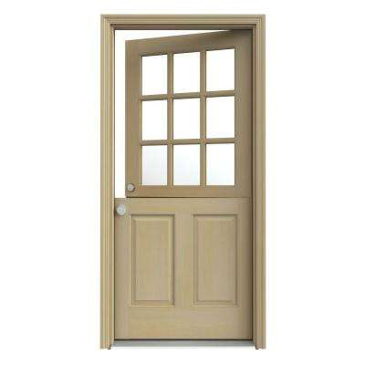 36 in. x 80 in. 9 Lite Unfinished Wood Prehung Right-Hand Inswing Dutch Front Door with AuraLast Jamb and Brickmold