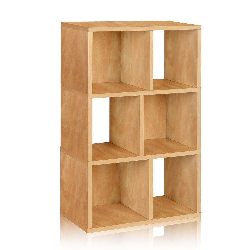 Way Basics Laguna 3-Shelf 12 x 22.8 x 36.8 zBoard  Bookcase, Tool-Free Assembly Cubby Storage in Natural Wood Grain